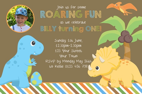 boys first 1st birthday Dinosaur personalised invitation