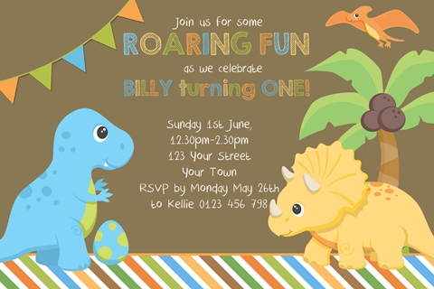 boys 1st first birthday Dinosaur personalised invitation