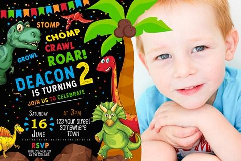 kids dinosaur birthday party invitation invite
