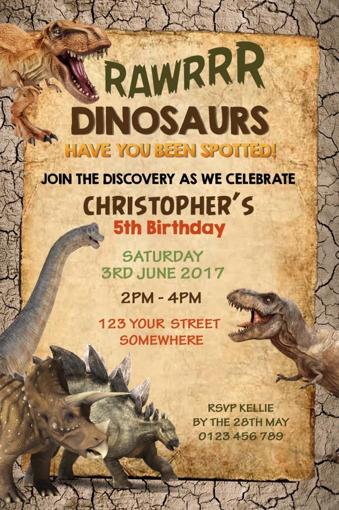 kids Dinosaur birthday party invitation