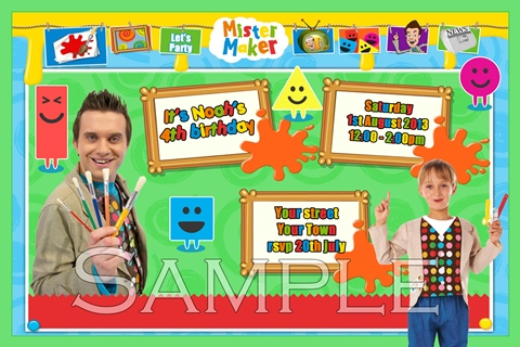 Mister Maker party birthday invitations