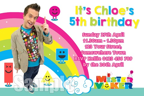 boys and girls Mister Maker personalised birthday party invitations