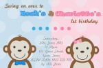 cute twin girl and boy monkey invites