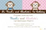 twin girl boy monkey invitations