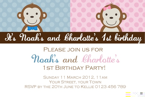 twin girl boy monkey invitations