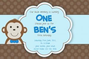 kids boys monkey birthday invitation