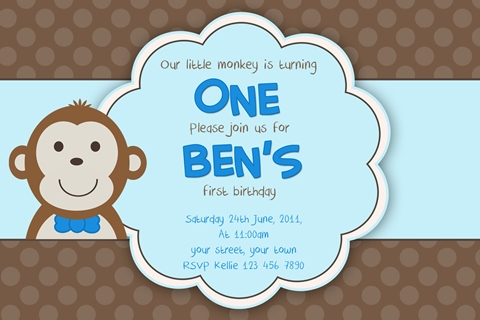 kids boys monkey birthday invitation