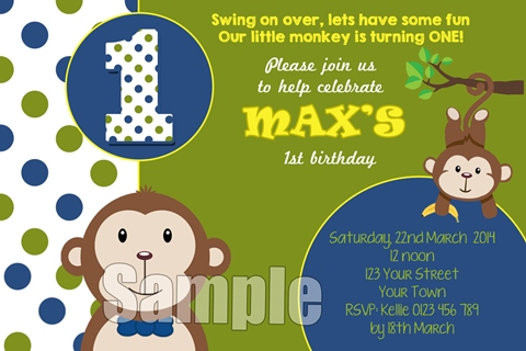 Boys monkey birthday party invitation