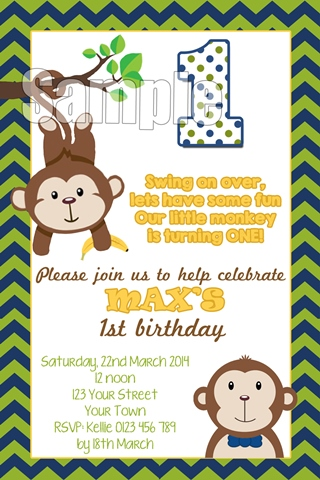 Boys monkey first 1st birthday party invitation