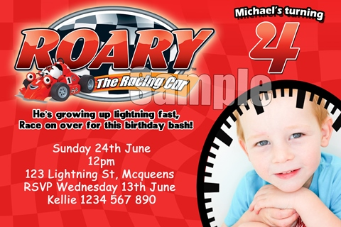 Roary the racing car invitations