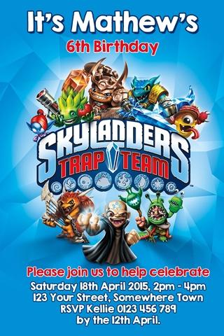 Skylander trap team invitation