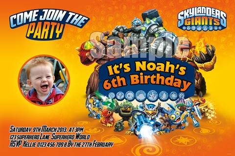 skylanders bys birthday party invitation