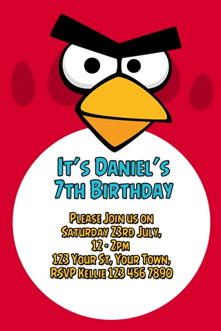 red Angry birds party invitations
