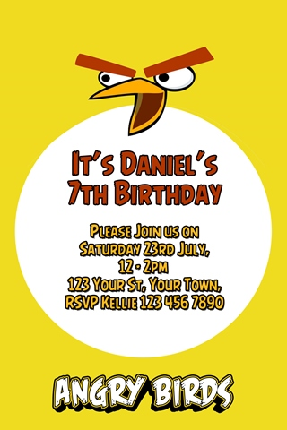 yellow Angry birds party invitations