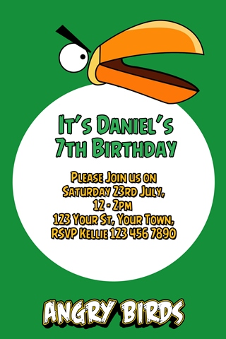 green Angry birds party invitations