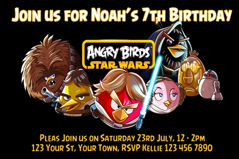 Angry birds party invitations