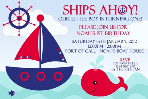 Nautical and sail boat navy red whale birthday party invitation