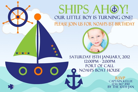 Nautical and boat anchor invitation invite