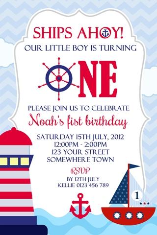 boys red blue lighthouse boat nautical birthday invitation invite