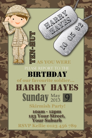 Army bootcamp camouflage invitation