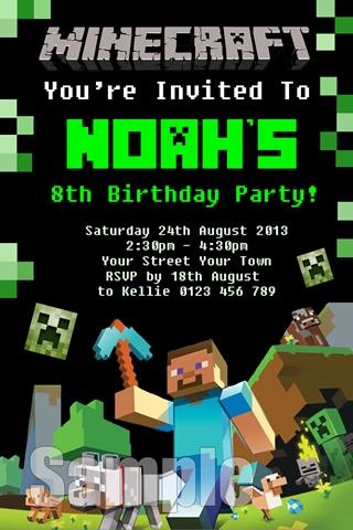 boys Minecraft birthday invites