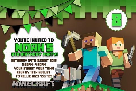 Minecraft game party invitation