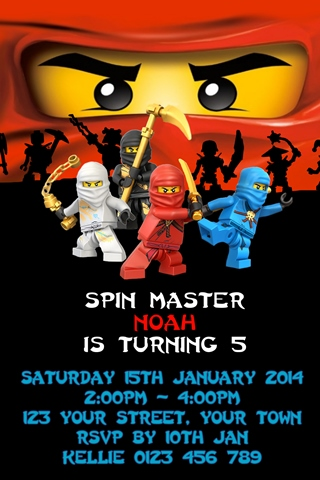 Personalised red kai fire Ninjago Invitations