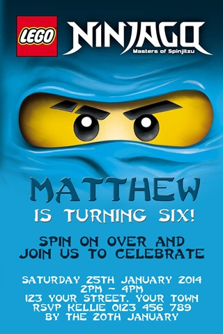 Personalised blue jay walker Gordon lightning Ninjago Invitations