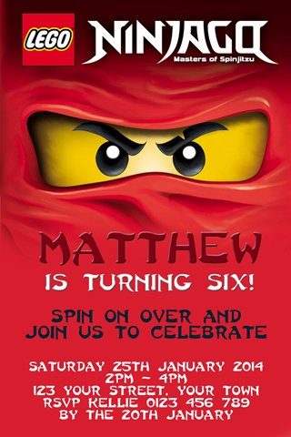 red Kai fire Ninjago Invitations