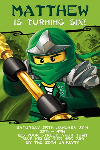 Personalised green energy Master Lloyd Montgomery Garmadon Ninjago Invitation