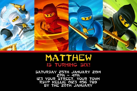 Personalised white red blue green Ninjago Invites
