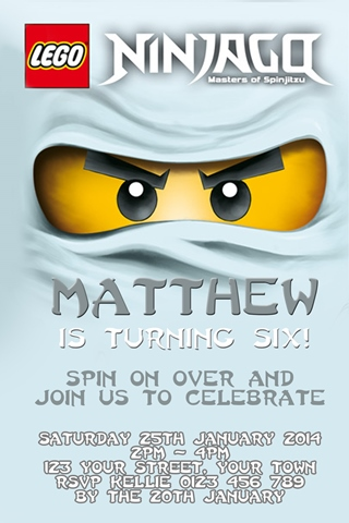 Personalised white titanium ice zane Ninjago Invitation