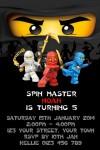 Personalised Ninjago Invitations