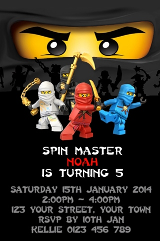 Personalised black cole earth Ninjago Invitations