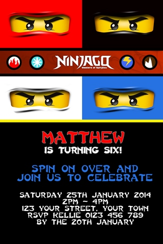 Ninjago red blue black white Invitations