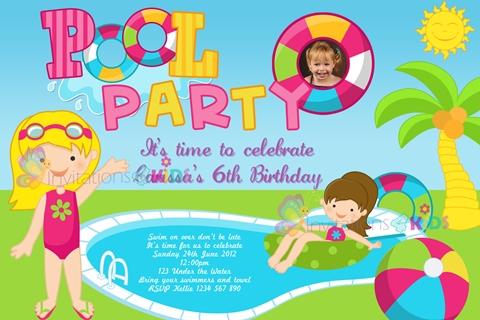 Girls pool party invitation