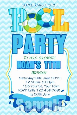 Boys pool party invitation