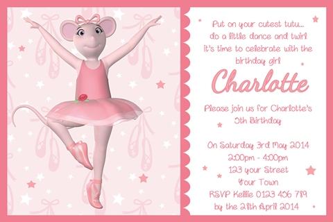 girls pink Angelina Ballerina invitation