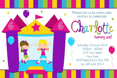 Girls Jumping Castle birthday party invitation