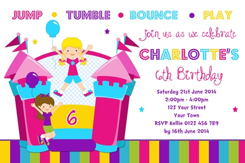 Girls colourful Jumping Castle birthday party invitation