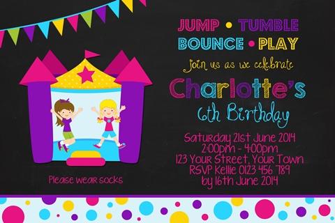 Girls chalkboard Jumping Castle invitation