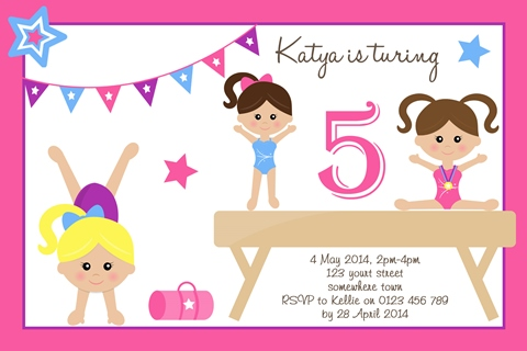 girls Gymnastics beam birthday party invitations