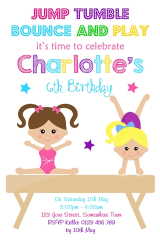 girls Gymnastics birthday party invitation