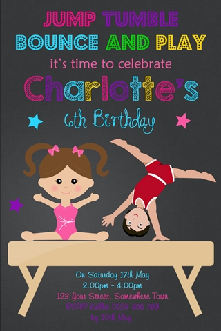 girls and boys gymnastics birthday party invitation