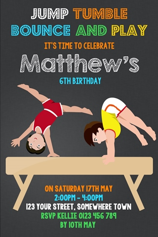 boys gymnastics birthday party invitation