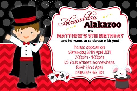 boys Magic magician party invitation