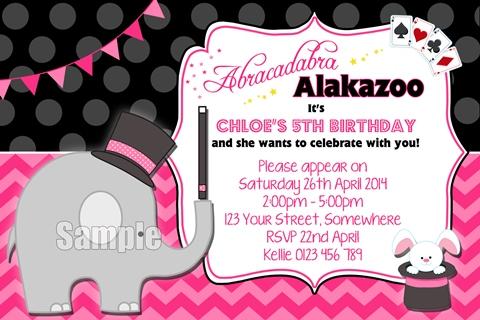 girls Magic elephant rabbit pink party invitation