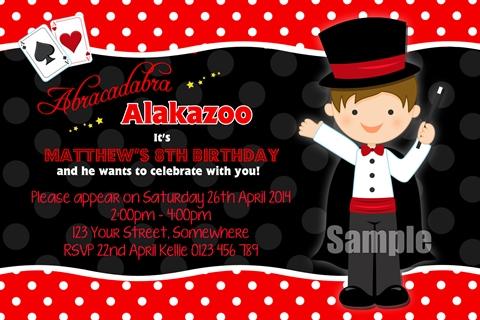Magic magician boys party invitations