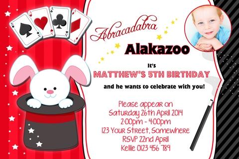 boys Magic cards rabbit party invitations