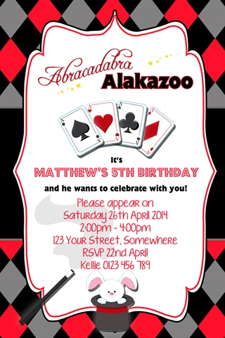 boys Magic rabbit party invitations